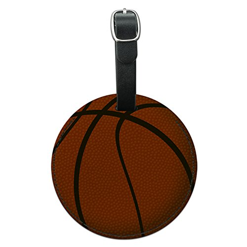 Luggage Basketball Tag - Graphics & More Basketball Round Leather Luggage Id Tag Suitcase Carry-on, Black