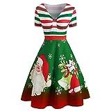 Seamount Women's V-Neck Stripe Print A Line Swing Dress,Christmas Santa Claus V-Neck Fashion Vintage Dress (Green, L)