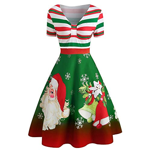 eck Stripe Print A Line Swing Dress,Christmas Santa Claus V-Neck Fashion Vintage Dress (Green, S) ()