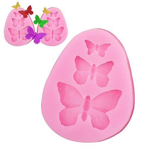 3D Butterfly Mold Silicone Fondant Molds 3 Cavities Butterfly Shape Silicone Mold Cake Baking Mould Cake Decorating Mold Non-stick DIY Tool ()