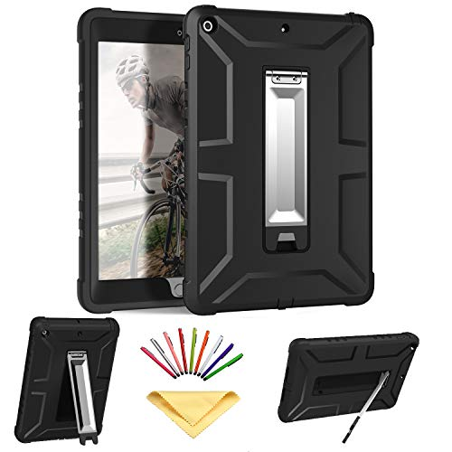 (iPad 9.7 inch 2018 2017 Case, Soft TPU & Hard PC Back [Three Layer] Shockproof Armor Defender Shell Heavy Duty Rugged Hybrid Full-Body Cover with Kickstand for Apple iPad 6th/5th)