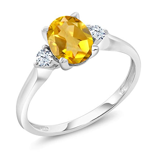 Gem Stone King 10K White Gold Yellow Citrine and White Created Sapphire 3-Stone Women's Ring 1.40 Ctw (Size 6)
