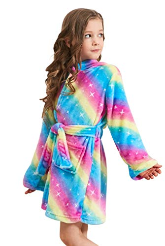 Soft Unicorn Hooded Bathrobe Sleepwear - Unicorn Gifts for Girls (10-11 Years, Rainbow -