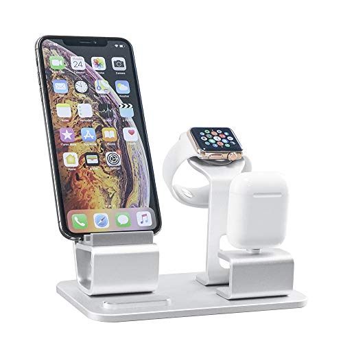 GRANDIX 3 in One Charging Dock for Apple Series Charger Docks Station for Airpods iWatch iPhone Android Smartphone Ipad Tablet NightStand Aluminum Holder (Best 3 Inch Smartphone)