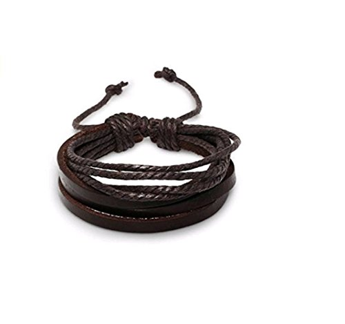 Adorable Woman Mens Adjustable Vintage Style Leather Wrap Wrist Band Brown Rope Bracelet