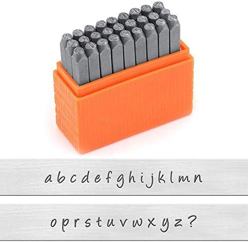 Nrpfell Sellos de Acero Al Carbono en May/úSculas y Min/úSculas Conjunto de Punzones de Alfabeto para Estampado de Metal 3MM