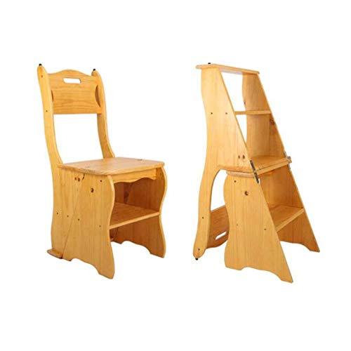 ZGQA-AOC Escalera de madera solida plegable taburete de paso banda de rodadura 4 Inicio Indoor Climbing Taburete alto escaleras moviles estante de multiples funciones de doble uso practico Mat 115 kg