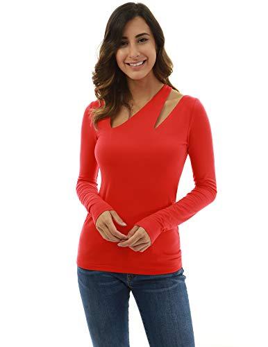 PattyBoutik Women Asymmetric Cutout Long Sleeve Blouse