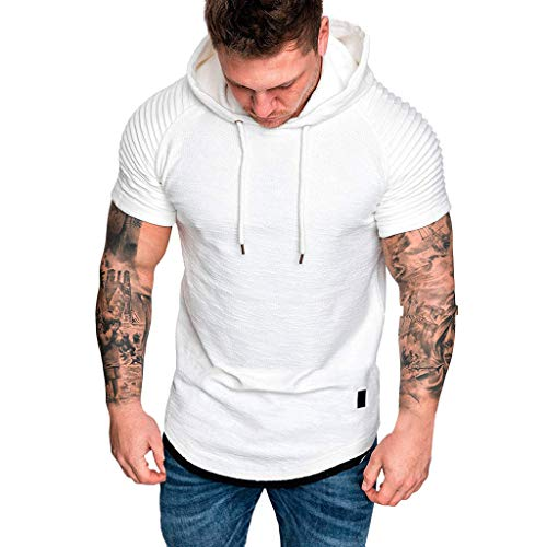 iHPH7 T Shirts for Men tees Men Shirt Men in Men's Clothing Striped Fake Two-Piece fold L 2- White -