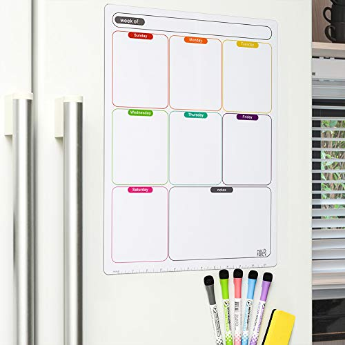 Thickened Magnetic Dry Erase Calendar for Fridge - Stain Resistant - Weekly White Board Planner - Meal Planner - with Fine Tip Marks & Eraser (Multicolored - Weekly Planner)