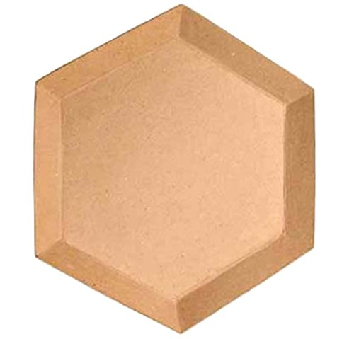 Group of 3 Hexagon Shaped Paper Mache Trays for Home Display, Crafting and Creating