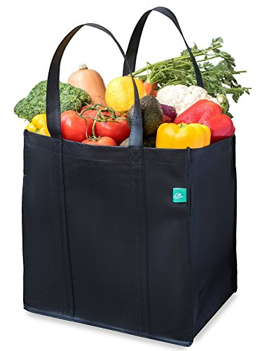 Reusable Grocery Shopping Bags (Black, 5 Pack) - Foldable Extra Large Heavy Duty Tote Bags With Reinforced Handles and Plastic Bottom Insert