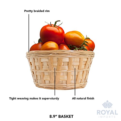 Royal Imports 8'' Round Natural Bamboo Handwoven Bread Basket 4''x8'' with Braided Rim, Pack of 6 by Royal Imports (Image #3)