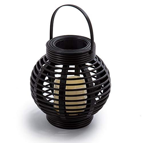 CTG, 8.5 x 8.5 inches, Plastic Rattan Lantern, Black (Rattan Table Bedside Classic)