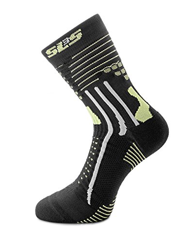 SLS3 FXC Running Socks with Toe Protector, Ankle Pads and Air Channels - Great For Marathon, Cycling, Trail Running, Hiking (L, Black)