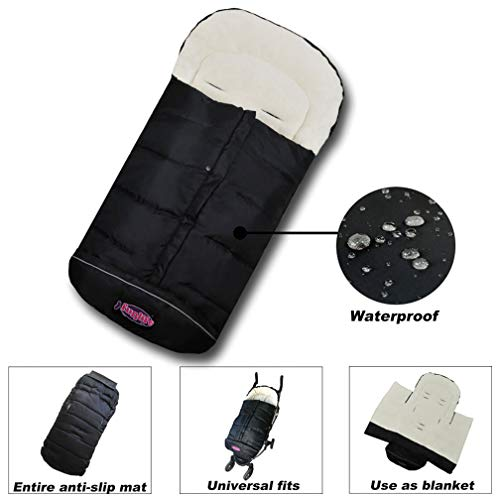 Winter Outdoor Tour Waterproof Baby Infant Universal Stroller Sleeping Bag, Footmuff, Baby Bunting Bag, Baby Cozy Stroller Blanket, Adaptable for Universal Strollers