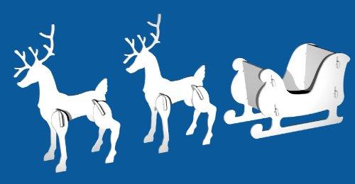 Christmas Outdoor Santa Sleigh and 2 Reindeer Set by Teak Isle (Image #3)