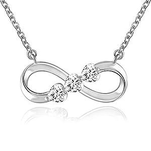QLEESI 925 Argent Sterling Femmes Collier Amour Toujours Infini Or Blanc Plaqué Diamant Pendentif Colliers Saint…