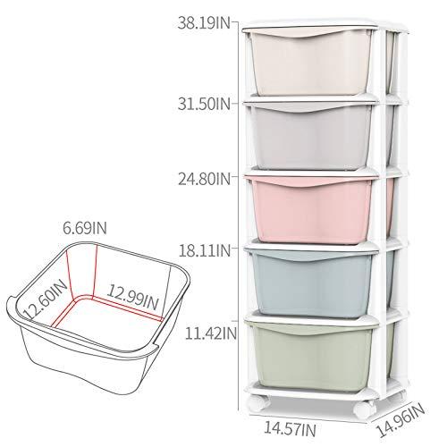 Nafenai Baby Storage Organizer, Cute Multicolor Drawer Storage Cart for Kids Bedroom, 5 Drawers-14.57'' L x 14.96'' W x 38.19'' H by Nafenai (Image #4)