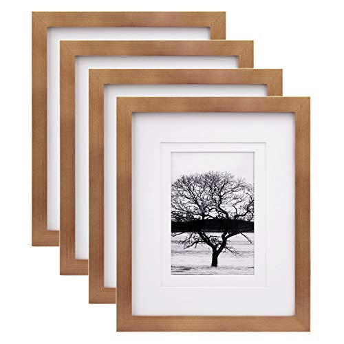 Egofine 8x10 Picture Frames 4 Pack, for Pictures 4x6 or 5x7 with Mat Made of Solid Wood for Table Top Display and Wall Mounting Photo Frames, Light Brown