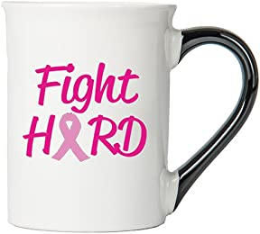 Cancer Awareness Mug; Fight Hard; Cancer Awareness Coffee Cup By Tumbleweed