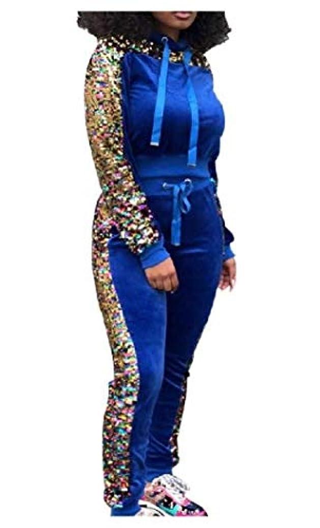 マイナー登録考古学Romancly 女性秋冬パッチスパンコールグリッターは、上着とズボンの衣装をトップス