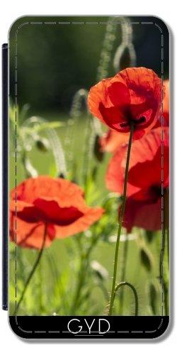 Leder Flip Case Tasche Hülle für Apple Iphone 7 / Iphone 8 - Mohnblumen Im Gras by UtArt