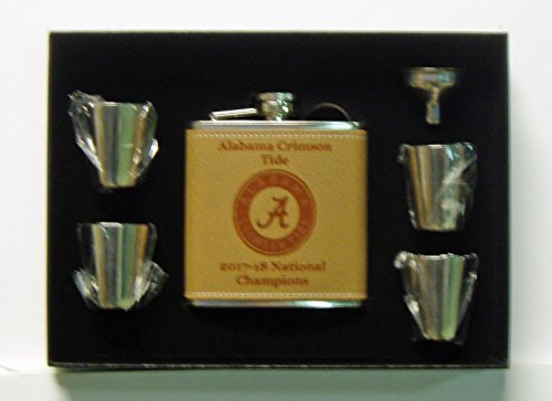 GFSF Alabama Crimson Tide 2017-18 National Champions 6 oz Leather Covered Stainless Steel Flask with 4 Shot Glasses and Funnel in a Black Presentation Box