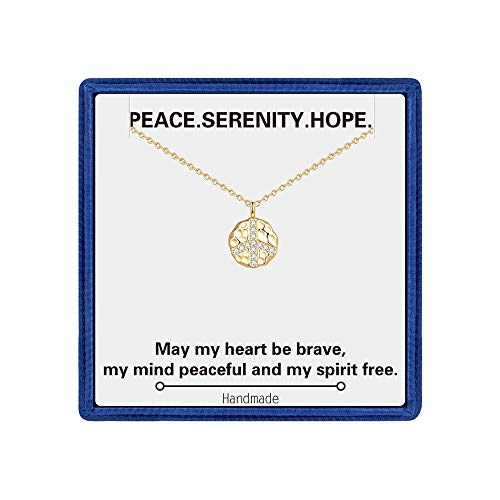 Peace Sign Necklace Gifts for Women - Dainty 14K Gold Filled CZ Disc Peace Sign Charm Necklace Peace Sign Pendant Necklace Inspirational Gifts for Women Best Birthday Bridesmaid Gifts for Her
