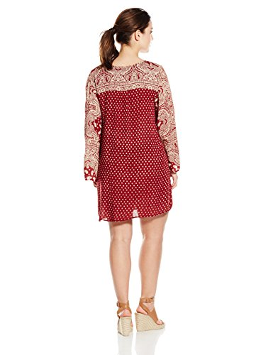 Angie Juniors Plus Size Red Printed Bell Sleeve Dress