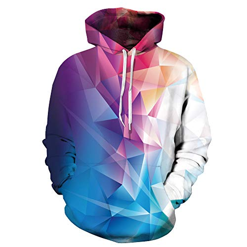 WOCACHI Mens Hoodies 3D Geometry Pullover Unisex Hooded