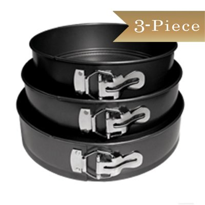 10' Springform Pan (TrueCraftware (3 Piece Set) Carbon Steel Springform Non-Stick Cake Pans Set with Removable Waffle Bottom and Quick-Release Latch - 8