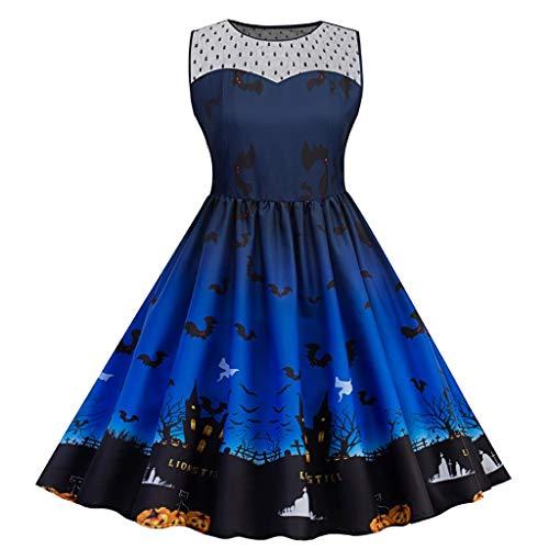 FEDULK Womens 50s Cocktail Dress Vintage Halloween Costume A-line Flared Party Prom Dress Plus Size XL-5XL(Dark Blue, ()