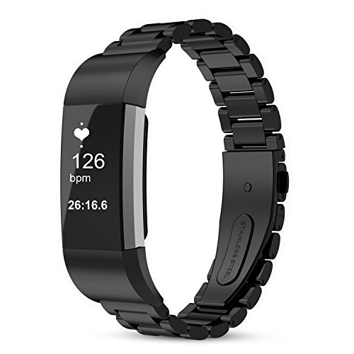Price comparison product image For fitbit charge 2 band, 316L Stainless Steel Replacement Accessory Bracelt Band.Small,Large Metal Bands for Fitbit Charge 2 band/Charge 2 Bands/Fitbit Charge 2 (Black+tool)