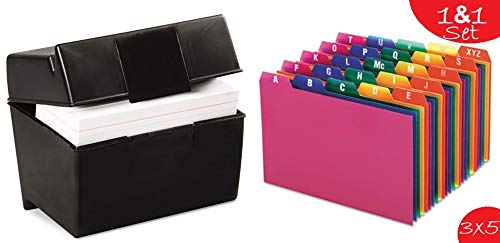 (1InTheOffice Index Card Box 3x5 inch, Index Card Holder 3x5 400 Capacity & Index Card Guide Set, A-Z, 1/5)