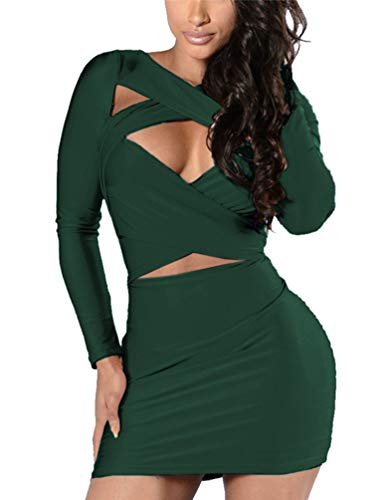 VOGRACE Women's Long Sleeve Cut Out Bandage Bodycon Party Clubwear Dress M Dark Green