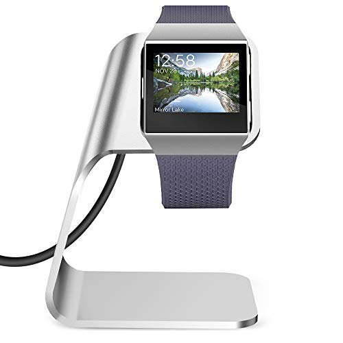 KIMILAR Charger Dock Compatible with Fitbit Ionic Smart Watch, Replacement Stand Station Charging Cradle Adapter Holder with 3 ft USB Charging Cable (Can Charge with Case on), Silver