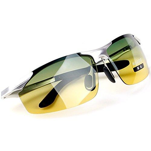 de noche Gafas visión nocturna Black Gafas masculinos de espejo de Polarizador y Gafas conductor de de box amarillo Silver conductor día gafas y sol Day KOMNY Frame de sol Night And femeninos sol wgYz6S