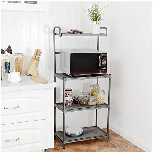 Giantex 4-Tier Kitchen Microwave Storage Rack Oven Stand Strong Mesh Wire Metal Shelves Free Standing Baker's Rack…