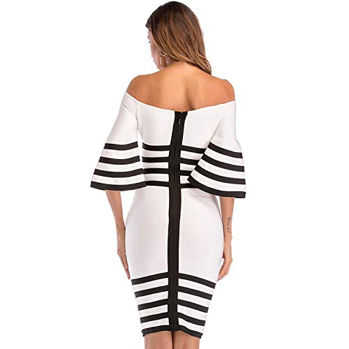 Knee Dresses for Bandage and Celebrity Striped Black Shoulder Length Dress Party Off Bodycon White Women Women White Dress 1wCq4SS