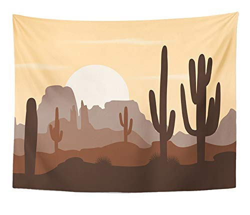 Emvency Tapestry Artwork Wall Hanging Cactus Morning Landscape with Saguaro Cacti and Mountains Cute Brown Palette Arizona 60x80 Inches Tapestries Mattress Tablecloth Curtain Home Decor Print -
