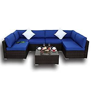 Outdoor Brown Rattan Wicker Sofa Set Garden Patio Furniture Cushioned Sectional Conversation Sets-Easy Assembled(Royal Blue Cushions,7 Piece)