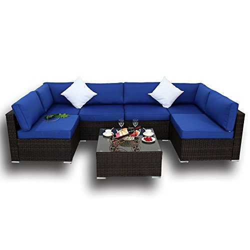 Outdoor Brown Rattan Wicker Sofa Set Garden Patio Furniture Cushioned Sectional Conversation Sets-Easy Assembled(Royal Blue Cushions,7 Piece) -