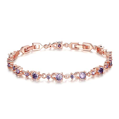 - Bamoer Luxury Slender Rose Gold Plated Bracelet with Sparkling Purple Cubic Zirconia Stones