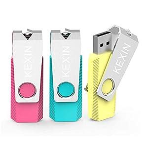 KEXIN 3 Pack 32GB USB Flash Drive 2.0 USB Stick Memory Stick Swivel Thumb Drive External Data Storage Stick Pen Drive…