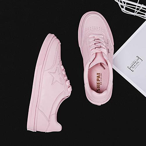 7 6 5size Planas Casuales Zhijinli Salvajes Tamaño Zapatos Zapatillas Estrella Femeninas Básicas Pequeñas Estudiantes Blancas 6w6PqRO