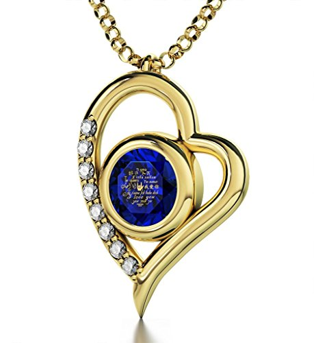 Nano Jewelry Gold Plated Heart Pendant Necklace I Love You 12 Languages 24k Inscribed Dark Blue Crystal, 18