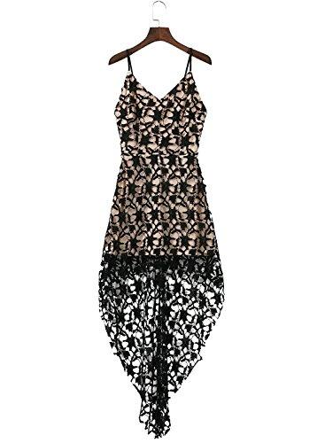 Azbro Mujer Vestido de Encaje Floral Asimétrico con Correa Fina Negro