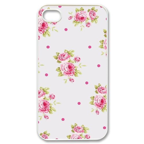 Alice iPhone 4,4s Case,Personalized Custom Retro Floral Vintage Flowers,Unique Design Protective TPU Hard Phone Case Cover