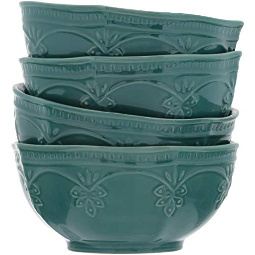 (The Pioneer Woman Farmhouse Lace Bowl Set, 4-Pack Ocean Teal)